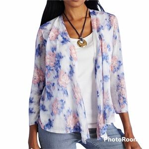 Chico's diffused floral convertible cardigan
